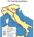 Ferrocarril de alta velocidad Milán-Boloña , Italia